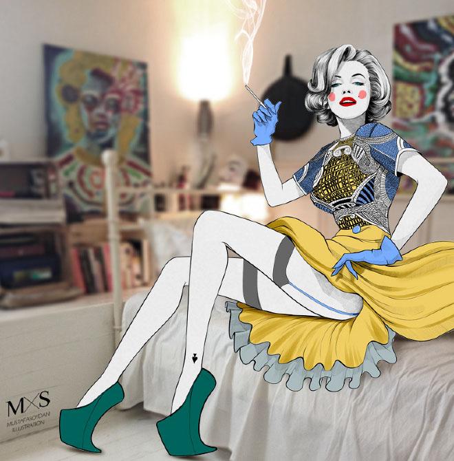 17-marilyn-monroe-illustration-by-mustafa-soydan