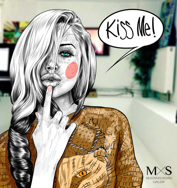 9-kiss-me-illustration-by-mustafa-soydan