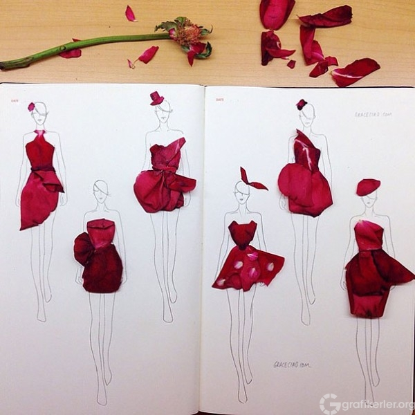 Fashion-Design-Illustrations-Sketched-with-Real-Flower-Petals-2-600x600